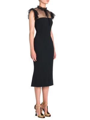 Tulle Tie-Neck Cady Cocktail Midi Dress in Black