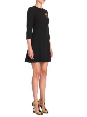 Embellished Virgin Wool Sheath Dress - Black Size 46 It