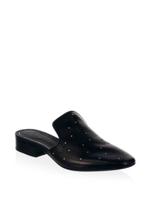 Luis Studded Leather Loafers, Black