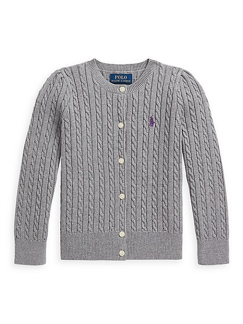 Girl's Cable-Knit Cotton Cardigan