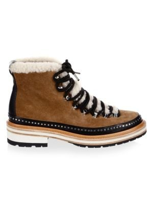 Compass Studded Leather And Shearling-Trimmed Suede Ankle Boots in Tan