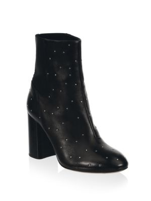 """Image of Leather heeled boots punctuated by metallic studs. Self-covered micro stacked heel, 3.5"""" (90mm).Leather upper. Round toe. Elasticized panel. Leather lining and sole. Made in Italy."""
