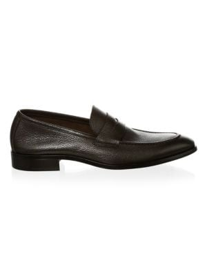 Men'S Johnson Leather Apron Toe Penny Loafers, Black