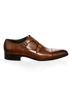 Men'S Bankston Leather Double Monk Strap Oxfords, Brown
