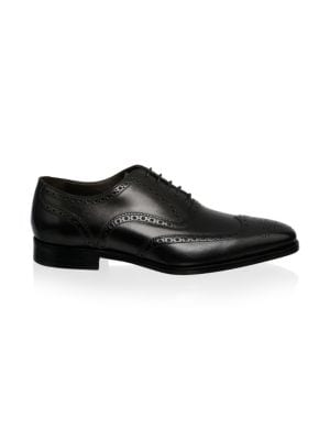 Ambler Leather Wingtip Oxfords, Black