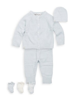 Image of A must have set for your little angel with super soft luxurious coziness; all packaged in a convenient suitcase. Nylon/rayon. Machine wash. Imported. Cardigan Crewneck Long raglan sleeves Button front Pants Elasticized waistband Banded cuffs Beanie Rib-kn
