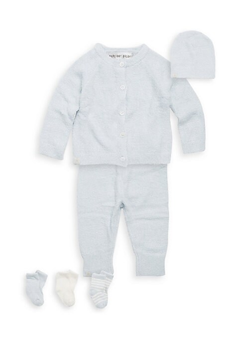 Image of A must have set for your little angel with super soft luxurious coziness; all packaged in a convenient suitcase. Nylon/rayon. Machine wash. Imported. Cardigan. Crewneck. Long raglan sleeves. Button front. Pants. Elasticized waistband. Banded cuffs. Beanie
