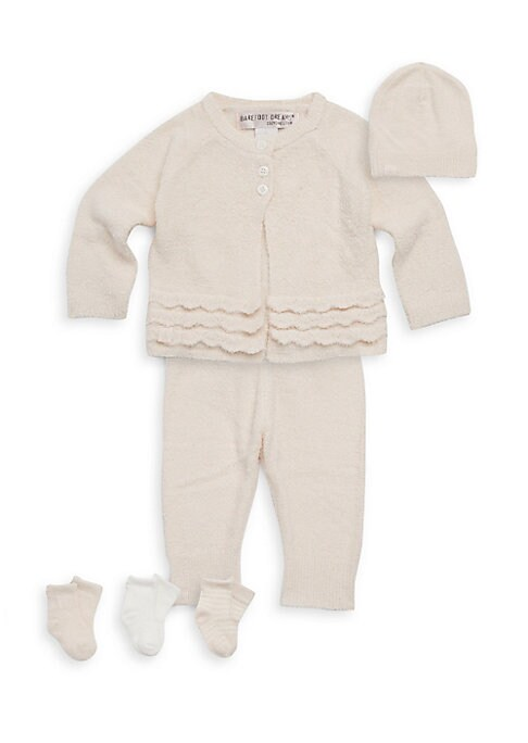Image of This six-piece plush set features a top paired and pants with matching hat and three pairs of socks; all packaged in a convenient suitcase. Nylon/rayon. Machine wash. Imported. Top. Crewneck. Long raglan sleeves. Three-button placket. Tiered scalloped tri