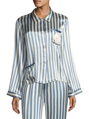 "Image of Silk pajama top with an allover stripe pattern. Point collar. Long sleeves. Button front. Chest patch pocket. Waist patch pocket. About 26"" from shoulder to hem. Silk. Machine wash. Imported."