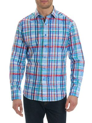 Image of Spread collar. Long sleeves. Buttoned cuffs. Button front. Regular-fit. Cotton. Machine wash. Imported.