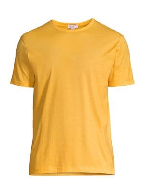 Sunspel Men's Classic Crewneck Cotton Tee In Booth Ochre