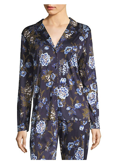 "Image of Comfortable sleepwear top with oversized floral print. Notch collar. Long sleeves. Button front. About 25"" from shoulder to hem. Modal. Hand wash. Imported."