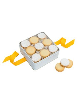 Image of Handcrafted cookies in tin packaging. Includes: 27 cookies.1.5 lbs. Lemon sandwich filled with white chocolate ganache infused with lemon. Key lime sandwich filled with key lime buttercream. Baked, ready to eat. Shelf life: 6 weeks room temperature/6 mont