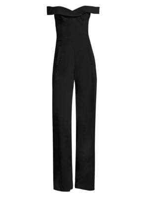 Off-The-Shoulder Wide-Leg Crepe Jumpsuit, Black