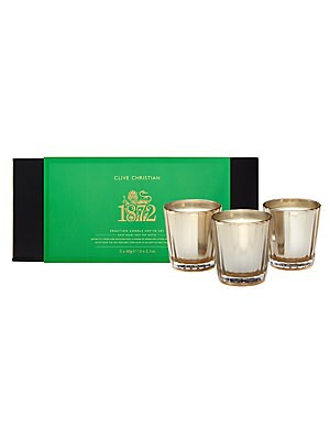 Image of Distinctly fresh and invigorating, a fusion of sparkling citrus, herbaceous notes and bright woods from the 1872 perfumes come alive as an emotive and graceful candle trio. Set of three Burn time: 22 hours Made in UK SPECIFICATIONS 3 x 2.1 oz. Fragrances