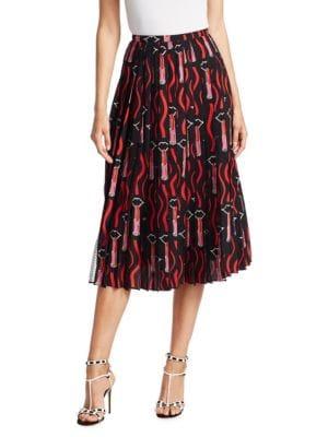 Lipstick-Print Silk & Lace Midi-Skirt - Black Size 8 00505055193597, Black Multi