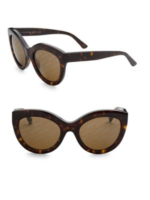 Image of Glam thick-framed cat eye sunglasses with logo lenses.54mm lens width; 22mm bridge width; 140mm temple length.100% UV protection. Acetate. Made in Italy.