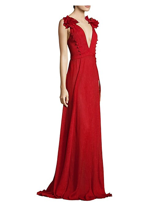 """Image of Crinkle chiffon floor-length gown with rosette and button details. Deep V-neck. Sleeveless. Concealed back zip. Front slit. About 60"""" from shoulder to hem. Polyester. Dry clean. Made in USA. Model shown is 5'10"""" (177cm) wearing US size 4."""