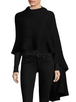 MINNIE ROSE Cashmere Ruffle Cape in Black