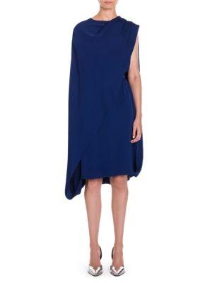 Stella Mccartney Cape Overlay Dress In Sapphire  4fe08975e
