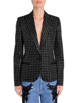 Crystal-Embellished Cotton-Blend Blazer in Black from MOSCHINO