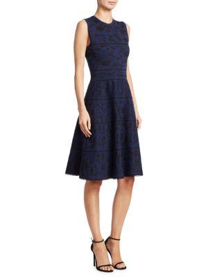 Carolina Herrera  Floral Jacquard Knit Dress
