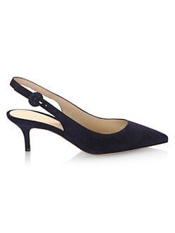 5aac5bb80b1 Gianvito Rossi - Point Toe Suede Slingbacks