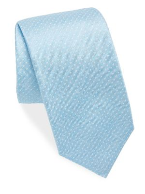 ISAIA Polkadot Print Silk Tie in Light Blue