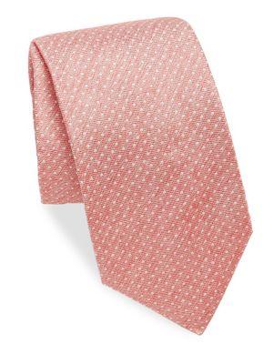 ISAIA Polkadot Print Silk Tie in Red