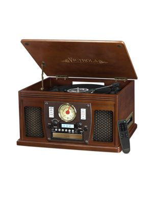VICTROLA Wood 8-In-1 Nostalgic Bluetooth Record Player in Brown