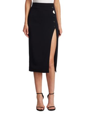 """Image of Slit and goldtone details adorn classic skirt. Banded waist. Concealed back zip. About 29"""" long. Viscose/elastane. Silk and elastane lining. Dry clean. Made in USA. Model shown is 5'10"""" (177cm) wearing US size 4."""