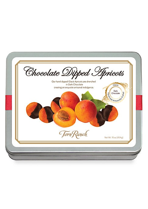 Image of Hand dipped apricots drenched in dark chocolate creating an exquisite artisanal indulgence.16 oz. Imported.