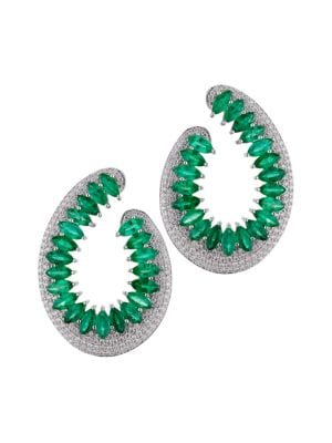 Hueb Women's Mirage 18k White Gold, Diamond & Emerald Front-facing Hoop Earrings
