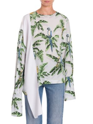 Claire Bird Of Paradise Crepe De Chine Blouse in White