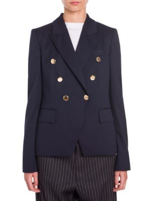 Peak Faux Double-Breasted Tailored Blazer, Navy