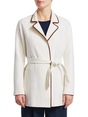 """Image of Deluxe cashmere coat with leather accents. Stand collar. Long sleeves. Open front. Self-tie waist. Waist welt pockets. About 27"""" from shoulder to hem. Cashmere/leather. Dry clean. Made in Italy. Model shown is 5'10"""" (177cm) wearing US size Small."""
