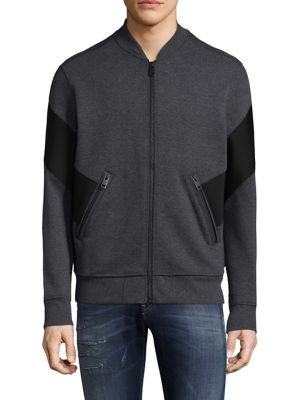Image of Knit jacket with contrast panel at sleeves and yoke. Stand collar. Long sleeves. Rib-knit cuffs and hem. Exposed front zip. Front zip pockets. Polyester/cotton/elastane. Machine wash. Imported.