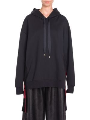 Oversized Paneled Cotton-Blend Jersey Hooded Top, Navy