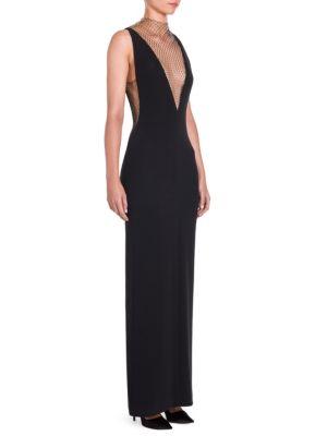 Plunging Sleeveless Crepe Evening Gown W/ Rhinestone Netting, Black