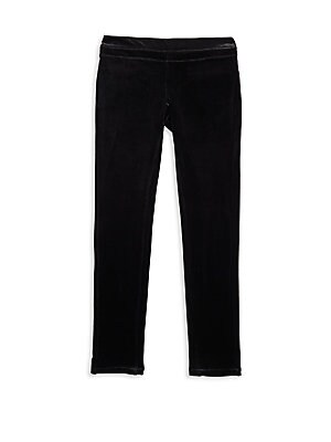 Image of Banded pants featuring a textured finish Banded waist Back welt pockets Polyester/spandex Machine wash Imported. Children's Wear - Contemporary Children. Blank NYC. Color: Black. Size: 10.
