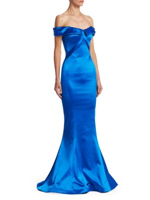 Off-The-Shoulder Stretch-Satin Trumpet Evening Gown, Royal