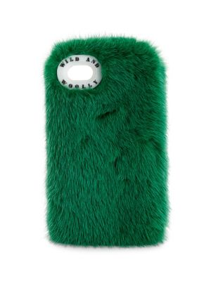 WILD AND WOOLLY Nisqually Mink Fur Iphone 7 Case in Emerald Green