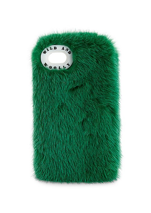"Image of Deluxe mink fur phone case for iPhone.6.5""L x 3.5""W x 0.5""D.Fur type: Dyed mink. Fur origin: Finland. Includes dust cover. Dry clean."