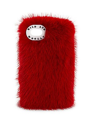 "Image of Chic fluffy case in dyed mink fur Fits iPhone 7 3.5"" W x 6.5"" H Fur type: Dyed mink fur Fur origin: Finland Made in USA. Handbags - European Collection Hdba. Wild and Woolly. Color: Red."
