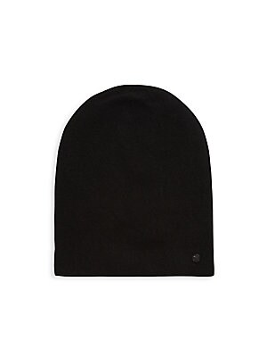 Image of Casual beanie with side signature logo applique Wool/cashmere Dry clean Imported. Men Accessories - Cold Weather Accessories. Bickley + Mitchell. Color: Black.