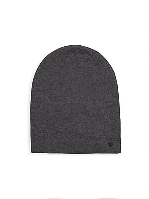 Image of Casual beanie with side signature logo applique Wool/cashmere Dry clean Imported. Men Accessories - Fashion Accessories > Saks Fifth Avenue. Bickley + Mitchell. Color: Dark Grey.