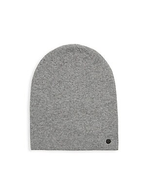 Image of Casual beanie with side signature logo applique Wool/cashmere Dry clean Imported. Men Accessories - Fashion Accessories > Saks Fifth Avenue. Bickley + Mitchell. Color: Mid Grey.