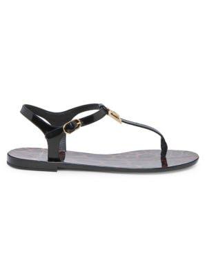 Logo-Embellished Patent-Leather Sandals in Black