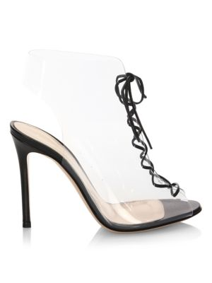 GIANVITO ROSSI Helmut Plexi 100 Lace-Up Pvc And Leather Ankle Boots, Black