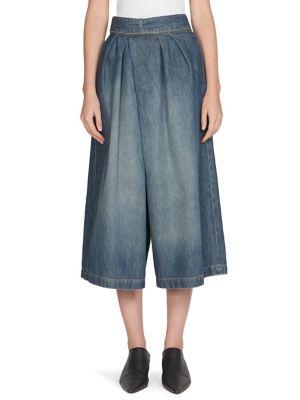 Culotte Denim Trousers in Blue